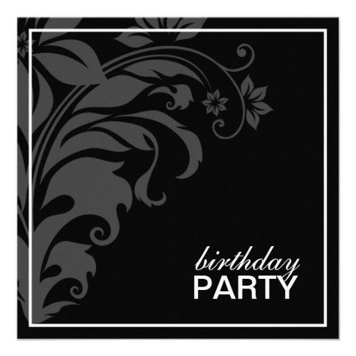 Invitaciones negras formales de la fiesta de cumpl comunicados personalizados