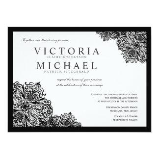 Invitaciones negras formales del boda del cuadrado invitación 13,9 x 19,0 cm