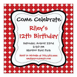 Invitaciones negras rojas de la fiesta de invitación 13,3 cm x 13,3cm
