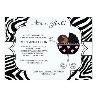 Invitaciones negras rosadas de la ducha de la niña invitación 12,7 x 17,8 cm