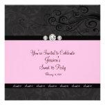 Invitaciones negras rosadas del fiesta del dulce d comunicados personales