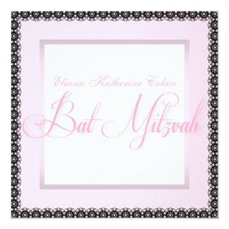 Invitaciones negras rosadas elegantes de Mitzvah