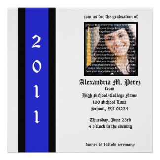 Invitaciones negras y azules de la graduación de l invitación personalizada