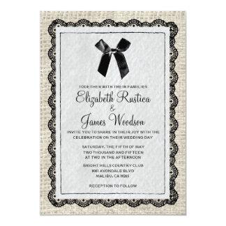Invitaciones negras y blancas del boda de la invitación 12,7 x 17,8 cm