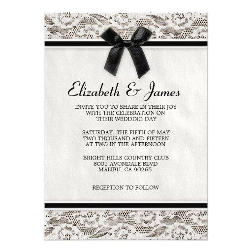 Invitaciones negras y blancas del boda del cordón  anuncio