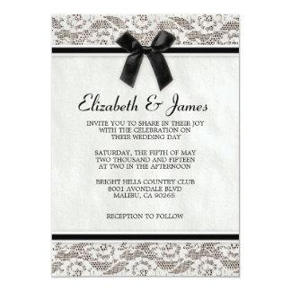 Invitaciones negras y blancas del boda del cordón invitación 12,7 x 17,8 cm