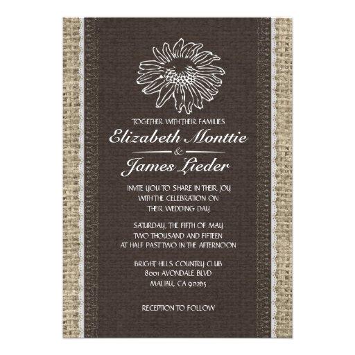 Invitaciones negras y blancas del boda del cordón