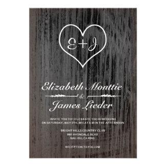 Invitaciones negras y blancas del boda del país