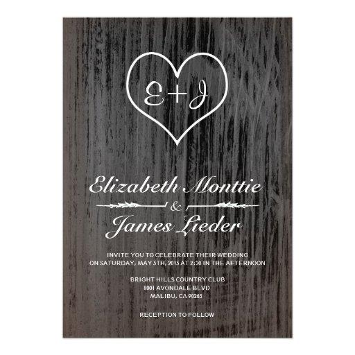 Invitaciones negras y blancas del boda del país anuncio