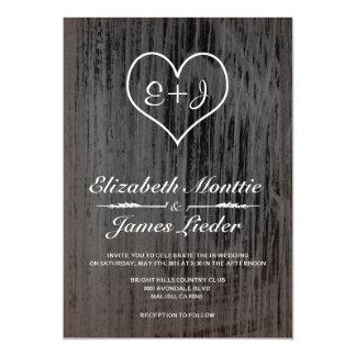 Invitaciones negras y blancas del boda del país invitación 12,7 x 17,8 cm