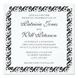 Invitaciones negras y blancas elegantes del boda invitación 13,3 cm x 13,3cm