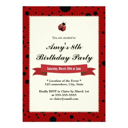 Invitaciones negras y rojas de la mariquita con cl comunicados