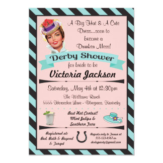 Invitaciones nupciales de la ducha de Derby de la Invitación 12,7 X 17,8 Cm