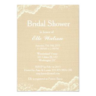Invitaciones nupciales de la ducha de la arpillera invitación 12,7 x 17,8 cm