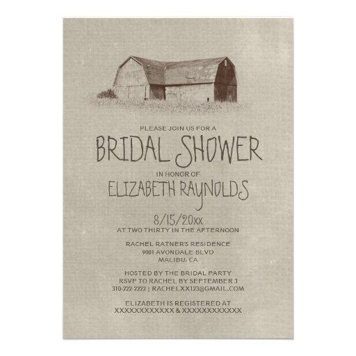 Invitaciones nupciales de la ducha de la granja comunicados personales