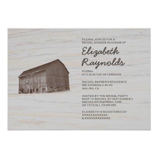 Invitaciones nupciales de la ducha de la granja el anuncio personalizado