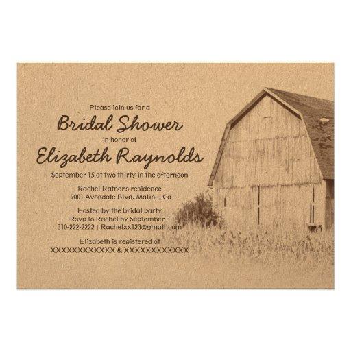 Invitaciones nupciales de la ducha de la granja si invitacion personalizada