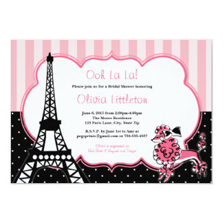 Invitaciones nupciales de la ducha de París - rosa Invitación 12,7 X 17,8 Cm