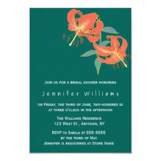 Invitaciones nupciales florales anaranjadas de la invitación 8,9 x 12,7 cm