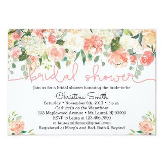 Invitaciones nupciales florales de la ducha del invitación 12,7 x 17,8 cm