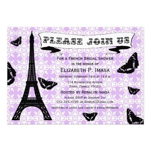 Invitaciones nupciales francesas de la ducha de la comunicado personal