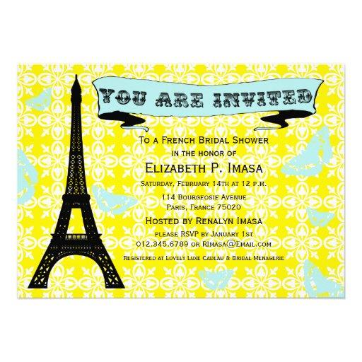 Invitaciones nupciales francesas de la ducha de la invitacion personalizada