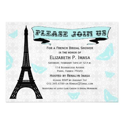 Invitaciones nupciales francesas de la ducha de la invitación personalizada