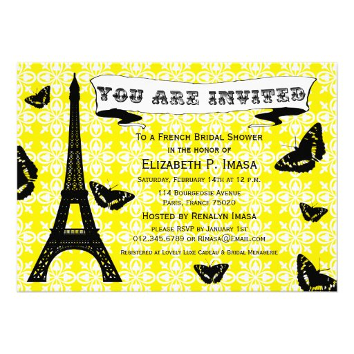 Invitaciones nupciales francesas de la ducha de la invitaciones personales