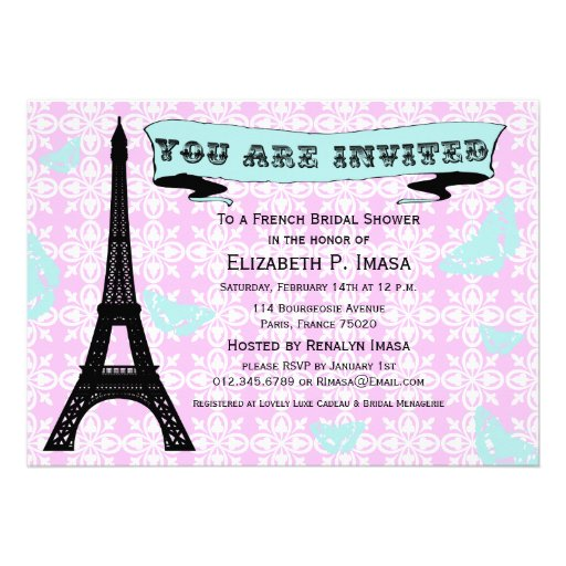 Invitaciones nupciales francesas de la ducha de la comunicados personales