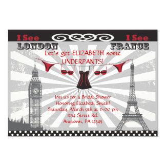 Invitaciones nupciales negras y rojas de la ducha invitación 12,7 x 17,8 cm