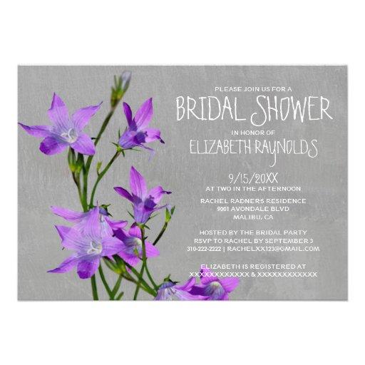 Invitaciones nupciales violetas de la ducha invitacion personal