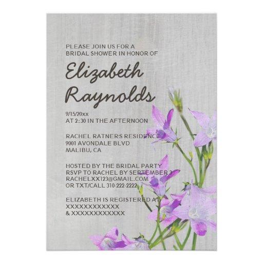 Invitaciones nupciales violetas de la ducha del vi