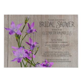 Invitaciones nupciales violetas rústicas de la invitación 12,7 x 17,8 cm