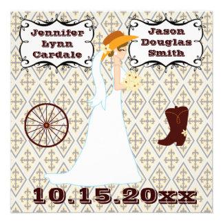 Invitaciones occidentales del boda del vaquero del comunicados personalizados