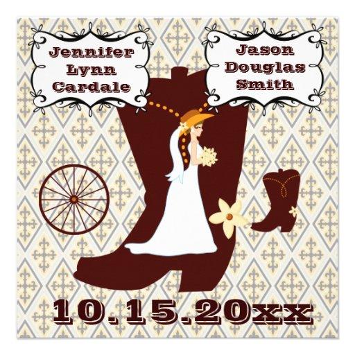 Invitaciones occidentales del boda del vaquero del invitacion personalizada