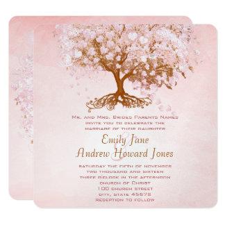 Invitaciones pálidas del boda del árbol del invitación 13,3 cm x 13,3cm