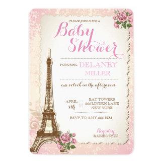 Invitaciones parisienses del chica de la fiesta de invitación 12,7 x 17,8 cm