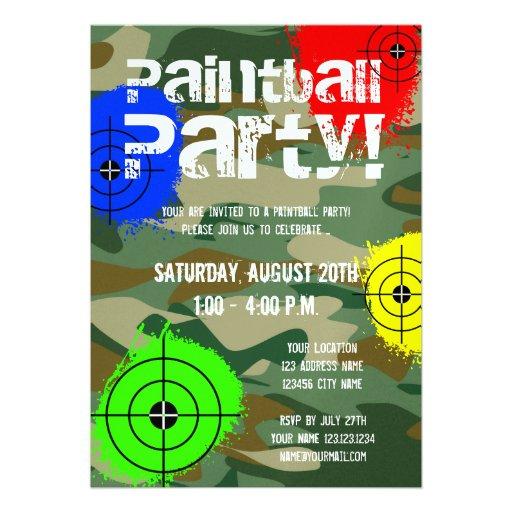Invitaciones personalizadas del fiesta de Paintbal Comunicado Personalizado