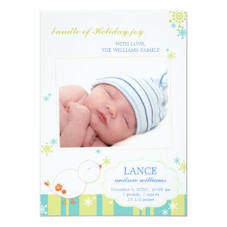 Invitaciones planas del nacimiento de la foto del invitación 12,7 x 17,8 cm