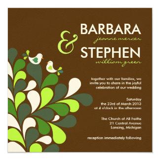 Invitaciones poner crema del boda del fieltro de invitación 13,3 cm x 13,3cm