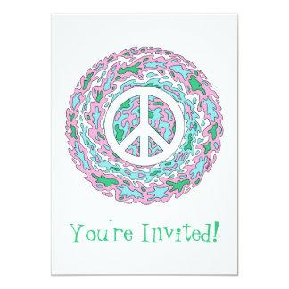 Invitaciones psicodélicas de la paz invitación 12,7 x 17,8 cm