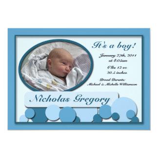 Invitaciones punteadas azul del nacimiento de la invitación 12,7 x 17,8 cm