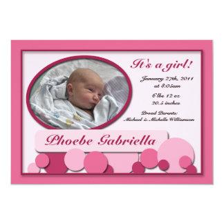 Invitaciones punteadas rosa del nacimiento de la invitación 12,7 x 17,8 cm