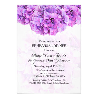 Invitaciones púrpuras de la cena del ensayo del