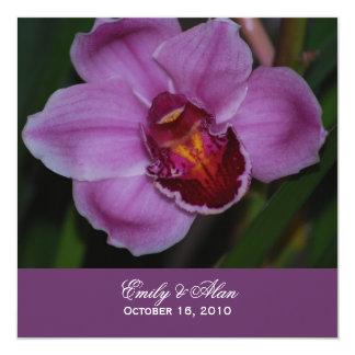 Invitaciones púrpuras del boda de la orquídea invitación 13,3 cm x 13,3cm