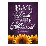 Invitaciones púrpuras del boda del girasol de la invitación