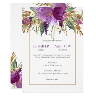 Invitaciones púrpuras del brillo del oro de las