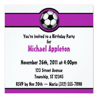 Invitaciones púrpuras del cumpleaños del balón de invitación 13,3 cm x 13,3cm