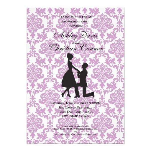 Invitaciones púrpuras del damasco invitaciones personales