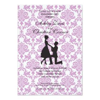 Invitaciones púrpuras del damasco invitación 12,7 x 17,8 cm